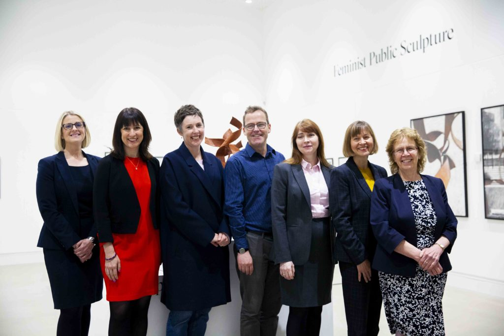 Image (from left to right): Sarah Friskney, Caddick Developments; Rachel Reeves, MP Leeds West; Pippa Hale; Kevin O'Hare, Leeds City College; Simone Wonnacott, Leeds Arts University; Karen Butler, Leeds BID; Cllr Judith Blake, Leeds City Council.
